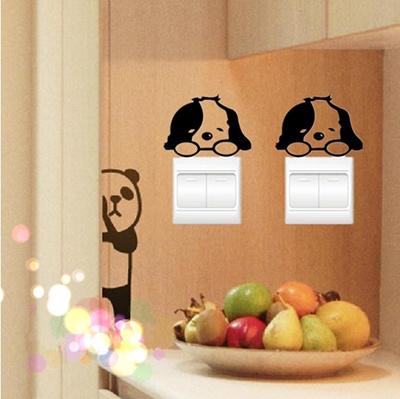 【ZAKZAK】かわいい いぬ/パンダ★スイッチステッカー 壁貼りシール★かわいい動物と遊ぼう!の画像