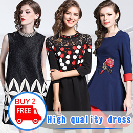 Europe Korean high quality fashion dress in the spring and autumn and summer lady elegant dress Euro