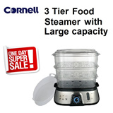 *ONE DAY OFFER* CORNELL 3 Tier Food Steamer - Large Capacity (CS-202)- 1 year warranty