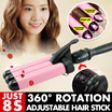 Free shipping!!5-mode temperature controlling curling iron/2-mode temperature controlling curling iron/LCD control/Multi types/Short hair/Long hair/Wave/Pink/Titanium alloy【M18】