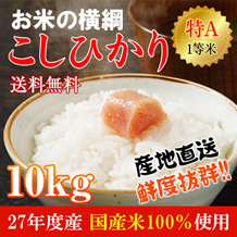 【送料無料】【特A】お米の横綱 27年度産こしひかり【10kg×1袋】100%使用が登場!!【特Aを取得いたしました。】【等級検査済】【1等米】★全量放射能検査済だから安心・安全です★さらに、産直コシヒカリ、栽培産地からの直送なので、鮮度バツグンです。艶もあり、甘みも強いとても美味しいお米です。★大特価セール★【お届けの指定日はできません。】【北海道・沖縄・離島の送料は別になります。】