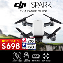 DJI SPARK (Alphine White)★ Seize the Moment! 2km Range with RC, Intelligent Flight Mode, Quick Shot, TapFly, Active Track, Gesture Control, Mechanical Gimbal Stabilization, Powerful Lens, HD WiFi Vid