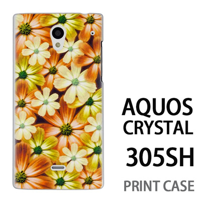 AQUOS CRYSTAL 305SH 用『No4 マーブルフラワー』特殊印刷ケース【 aquos crystal 305sh アクオス クリスタル アクオスクリスタル softbank ケース プリント カバー スマホケース スマホカバー 】の画像