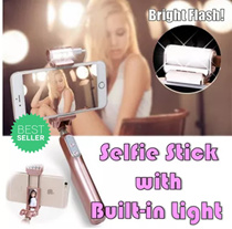 [2016 TAIWAN NEWEST INVENTION] Selfie Stick with Builtin Light 3 LEVEL ADJUSTABLE LIGHT * 美颜相机 * TR * Wired Pen Size Monopod Wired Selfie Stick Telescopic Phone Holder for Gopro iphone IOS Andriod