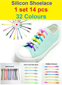 14pcs Set Silicon Shoelace / Shoe lace / Track Shoes / Sneakers / Boots / Clip Tie / Multi purpose