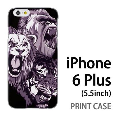 iPhone6 Plus (5.5インチ) 用『0827 アニマルズ 黒』特殊印刷ケース【 iphone6 plus iphone アイフォン アイフォン6 プラス au docomo softbank Apple ケース プリント カバー スマホケース スマホカバー 】の画像