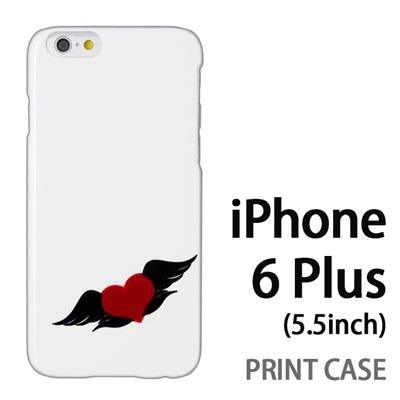 iPhone6 Plus (5.5インチ) 用『0824 ワンポイント羽ハート』特殊印刷ケース【 iphone6 plus iphone アイフォン アイフォン6 プラス au docomo softbank Apple ケース プリント カバー スマホケース スマホカバー 】の画像