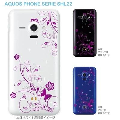 【AQUOS PHONE SERIE SHL22】【SHL22】【au】【カバー】【ケース】【スマホケース】【クリアケース】【フラワー】【花と蝶】 22-shl22-ca0067の画像