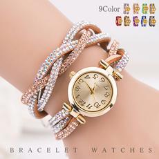 腕時計 ウォッチ ブレスレット ビジュー キラキラ 輝く 存在感 ゴージャス ボリューム サイズ調整可能 巻きベルト 9カラー レディース