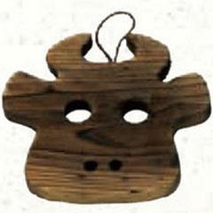 萬洋鍋敷き木製杉牛鍋敷34-003