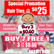 [-BUY 7 get 1 FREE-] ★Special Promo at $0.25★Hot Deal - 3 at $0.60★Knotted Hair Ties/Bow Hair Ties/Stretchy Hair Bands/Elastic Ribbon Hair Tie/Korean Style
