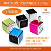 Mini Square Speaker MD07U / TDV26 With USB Slot  Micro SD Card Slot Music MP3 Angel Player