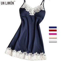 UNLIMON Womens Nighties Silk Nightgowns Satin Ladies Night Dress Nightshirt Sexy Lace Pajamas