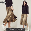[TRUE COLOR]  Metallic Banding Pleated Skirt/ WOMEN-T-19S