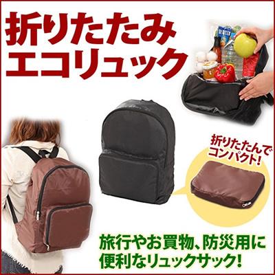 エコリュック 折りたたみ 荷物が増えてもサッと取り出せるリュック くるっと簡単 便利 コンパクト アウトドア 行楽 旅行 エコバック リュック 買い物 防災袋 [ゆうメール配送][送料無料]の画像