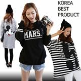 SS2 [Korea Best Product] One Piece Long T-shirt / loose / Short Sleeve Tee / stripe / ladies top  / hoodie