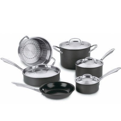 Qoo10 cuisinart green gourmet hard anodized 10 piece for Qoo10 kitchen set