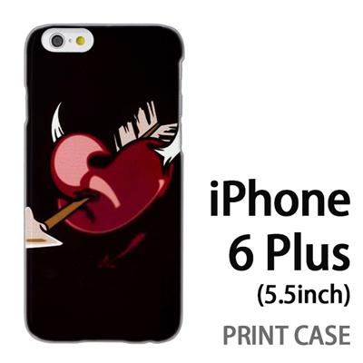 iPhone6 Plus (5.5インチ) 用『0825 黒ハート矢』特殊印刷ケース【 iphone6 plus iphone アイフォン アイフォン6 プラス au docomo softbank Apple ケース プリント カバー スマホケース スマホカバー 】の画像
