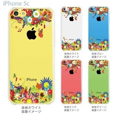 【iPhone5c】【iPhone5c ケース】【iPhone5c カバー】【iPhone ケース】【クリア カバー】【スマホケース】【クリアケース】【イラスト】【フラワー】【花と蝶】 06-ip5cp-ca0084の画像