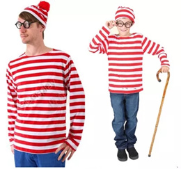 国内発送、在庫あり、3セット、ウォーリーをさがせ コスチューム ウォーリーを探せ グッズ クリスマス  ハロウィン コスプレ 衣装 服 大人 レディース メンズ キッズsnt  xms ボーダー 長袖 Tシャツ ウォーリー コスプレ