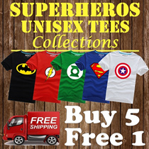 【New Arrivals】☆ Superheroes Marvel DC ☆ 100% Cotton Tee shirt / Superman/Batman/Iron Man/Spiderman/Captain America/Hulk/Thor/Wonder Woman/ Top / Dress / Unisex T-Shirt / Couple Tee