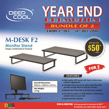 Authentic Deepcool M-Desk F2 Monitor Stand - MDF Panel and Aluminum Alloy Legs - hold up to 15kg (Black)