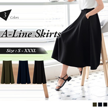 OB DESIGN ★ OBDESIGN ★ ORANGEBEAR ★ HIGH WAIST PLAIN A-LINE MIDI SKIRTS ★ 3 COLORS ★ S-XXXL SIZE ★