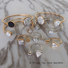 New! Timeless Elegant White / Black Marble Effect Rings / Cuff Bangles / Accessories in Silver / Gold. Local Seller with Free Shipping! Gift for Birthday / Special Occasion / Christmas.