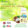 Nutra Botanics Organic Extra Virgin Coconut Oil 1000mg ♡ 90's Softgels Per Bottle ♡ Lose Weight Fast ♡ Get Rid Belly Fat ♡ Achieve Healthy BMI ♡ Cold Pressed Coconut Oil ♡