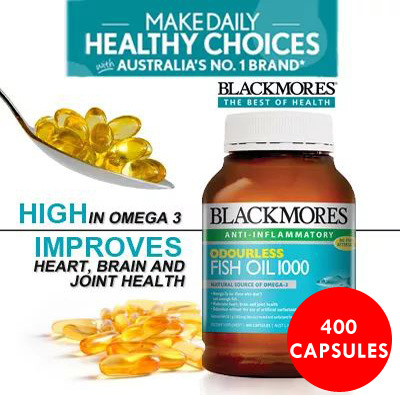 [RETAIL: $69] 400 CAPSULES!! BLACKMORES ODOURLESS FISH OIL 1000MG 400 CAPSULES . CHEAPEST IN SG Deals for only S$75 instead of S$0