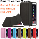 New 2015 Hot Sale Original leather smart case cover for ipad 5/air iPad 6/air 2 iPad mini 2 3 iPad 2/3/4 case ultra thin flip leather stand luxury for apple iPad air2
