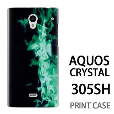 AQUOS CRYSTAL 305SH 用『No4 緑煙』特殊印刷ケース【 aquos crystal 305sh アクオス クリスタル アクオスクリスタル softbank ケース プリント カバー スマホケース スマホカバー 】の画像