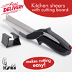 Kitchen shears with cutting board