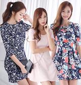 [envylook]★design by korea★best dress/low price dress/loose fit chiffon dress/flare dress/flower pattern dress/one-piece/casual dress