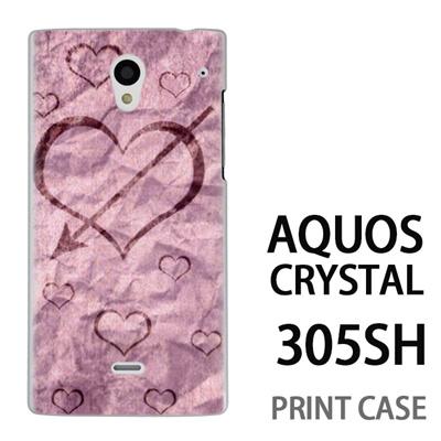 AQUOS CRYSTAL 305SH 用『No4 和紙ハート矢』特殊印刷ケース【 aquos crystal 305sh アクオス クリスタル アクオスクリスタル softbank ケース プリント カバー スマホケース スマホカバー 】の画像