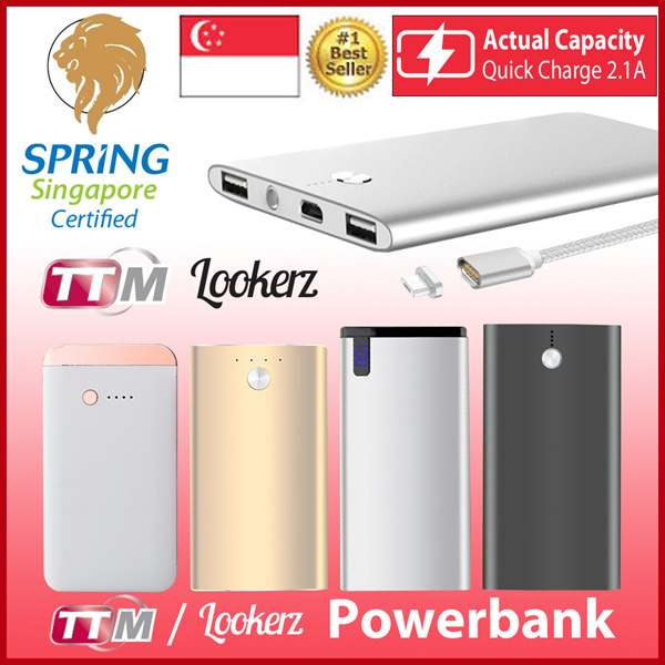 [LOOKERZ]?ULTRA SLIM POWERBANK?ACTUAL CAPACITY|COMPLY WITH SPRING SINGAPORE SAFETY STANDARD| Deals for only S$19.9 instead of S$0