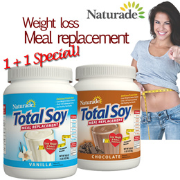 Lose up to 5kg in 1 week! 1+1 Special! Naturade Total Soy Meal Replacement 19.1 oz (540 g) Reduce Cholestrol / Weight Loss Protein Shake. Direct from USA. Lose up to 5kg in 1 week!
