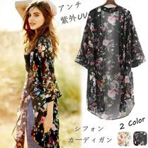 【春夏に活躍】レディース 花柄の着物風シフォンロングカーディガン襟なし アンチ日焼け紫外UV