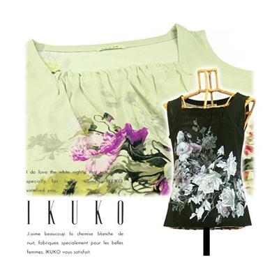 イクコ IKUKO 強撚フライス ビスコプリント ノースリーブ カットソーの画像