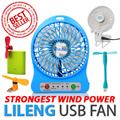[STRONGEST WIND] LiLeng HandFan Portable Mini USB Fan 4/6 Inch Tower Fan Design Easy To Use 360 Degree Rotate Stroller Fan Table Fan Ultra Quiet Design 3 Speed Control ABS Case Strongest Wind Power