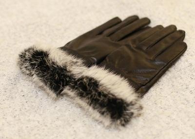 【上品】ラビットファー付 ラムレザーグローブ 【ファー付き手袋、レザー手袋、レザーグローブ、羊皮手袋】の画像