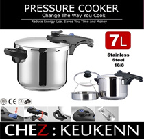 New generation Range Top Pressure Cookers in High Quality Stainless Steel 304 (18/8) Triple Layered Encapsulated Bottom with Dual Pressure Setting CHEZ 7L BRAND NEW ARRIVAL*Very Special Offer*