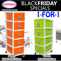 ◘◘[1-FOR-1]◘◘[802]TOYOGO - PLASTIC STORAGE CABINET/DRAWER WITH WHEELS(4-TIER)(5-TIER)
