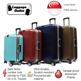 ★Best Quality★Free Luggage Cover★Hard Shell 8 Wheel Spinner Polycarbonate Aluminium Frame Luggage Trolley Case 20/24/28 inch with Safe Skies (TSA) number lock Red/Navy/Brown/Cyan