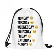ファッション絵文字かわいい3Dパターントラベルバックパックソフトバック原宿巾着袋