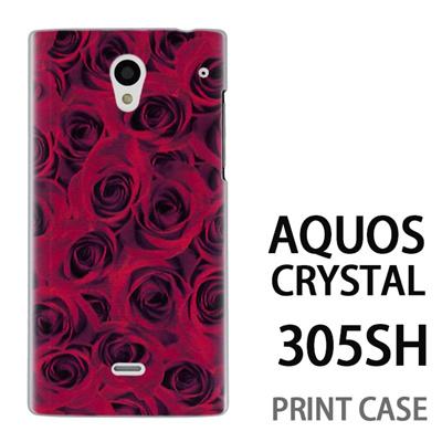 AQUOS CRYSTAL 305SH 用『0111 一面の薔薇 赤』特殊印刷ケース【 aquos crystal 305sh アクオス クリスタル アクオスクリスタル softbank ケース プリント カバー スマホケース スマホカバー 】の画像