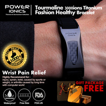 [1000+ LIKE Gifts]Power Ionics Black Gold Silver Titanium Magnetic 2000ions Health Watch Bracelet