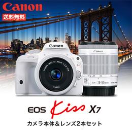 Canon EOS Kiss X7 ダブルレンズキット 2  ホワイトで統一したカメラ本体&レンズ2本のセット デジタル一眼レフカメラ