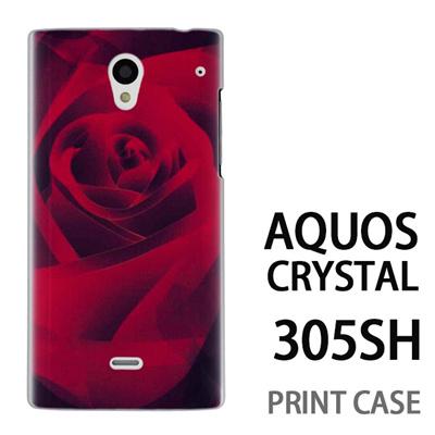 AQUOS CRYSTAL 305SH 用『0111 薔薇アップ 赤』特殊印刷ケース【 aquos crystal 305sh アクオス クリスタル アクオスクリスタル softbank ケース プリント カバー スマホケース スマホカバー 】の画像