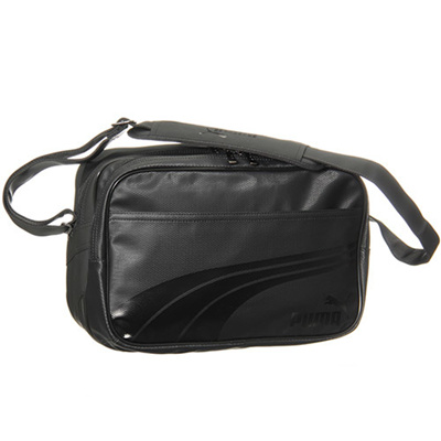 プーマ(PUMA) エナメル マット A ショルダー Mサイズ 073289 (01)ブラック/ブラック 【バッグ 鞄 カバン エナメルバッグ風】の画像